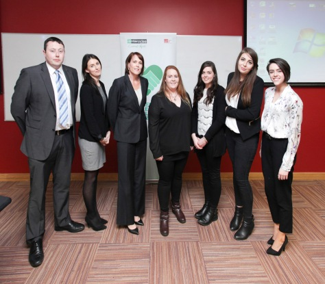 (L-R) Steven Coyle, Vehicle Acquisitions Manager, Jennifer Minogue, HR Generalist and Talent Acquisition Specialist, Leslee O' Loughlin, HR Manager, photographed with members of the winning team Media Edge, Neasa O' Brien, Eibhlin O' Keeffe, Hazel McPartlan and Jenna Eustace
