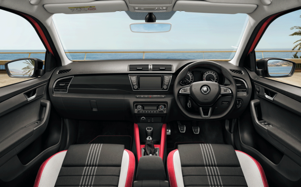 Skoda Fabia Monte Carlo interior has a red and black theme